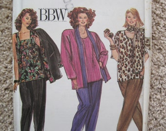 UNCUT Women's Pants, Tops, Jacket and Scarf - Size 18W to 32W - Simplicity 9456 - Vintage 1990