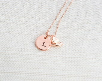 Rose Gold Initial and Dove Charm, Disc Necklace, Hand Stamped on Disc, Personalised Jewellery, Rose Gold Plated Necklace, turtle dove