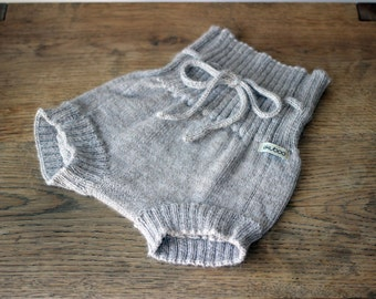 Alpaca Wool shorts for baby, infant, toddler, knit beige, gray, white knitted diaper cover, wool shorties