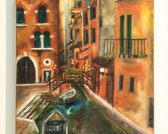 VENICE  :Beautiful Italy ,original oil painting on stretched canvas amazing one of a kind peice of art  Now*********Free Shipping*********