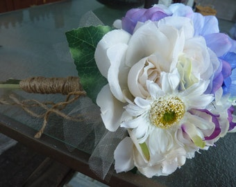 Rustic Wedding bouquet. Shabby Chic...Cottage....Beautiful!! Ivory & purple