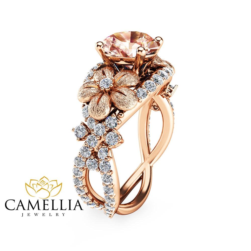 14k rose gold morganite engagement ring rose gold engagement. Black Bedroom Furniture Sets. Home Design Ideas
