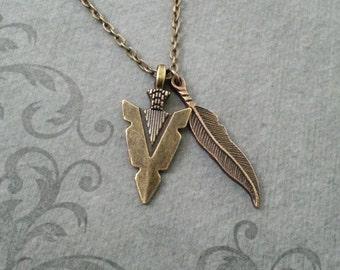 Arrowhead Necklace Bronze Arrowhead Jewelry Brass Feather Necklace Hunting Jewelry Hunter Necklace Native American Jewelry Bohemian Jewelry