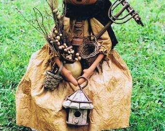 Primitive Folk Pumpkin Doll Pattern Fall and Halloween E Pattern