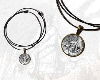 Antique style pendant necklace with the god and trickster Loke / Loki in Norse mythology, chain in leather - Asatru jewelry