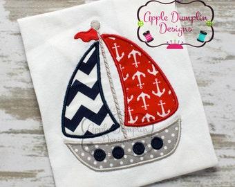 Sailboat Applique Machine Embroidery Design, Sail boat, Sailing, Beach, Boy, Girl, Summer, Spring, Fishing, Sailor, 5x7, 6x10