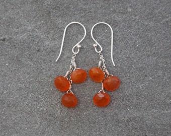 Carnelian Earrings, Gemstone Earrings on Chain, Dangle Earrings, Carnelian Clusters, Orange Carnelian Earring Natural Stones Sterling Silver
