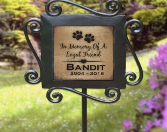 Personalized Pet Memorial Garden Stake, Pet Memorial , Loyal Friend Garden Stake