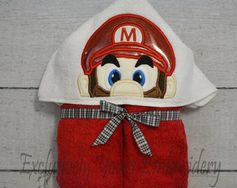 Plumber M Children's Hooded Towel - Baby Towel - Childrens Hood Towel - Bath Towel - Beach Towel - Personalized Towel - Character Towel