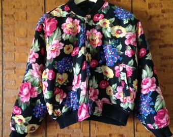 Vintage 90's LizWear Black Floral Bomber Jacket