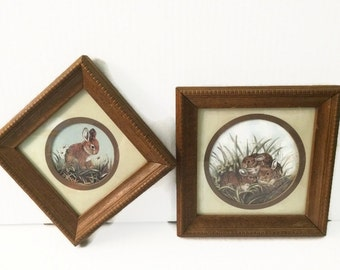 Wood Frame Rabbit Illustration Set Bunny Decor Matted Artwork Wall Art Brown Bunnies Rabbits in Grass & Daisies