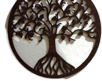 Tree of Life Wall Art -  Raw Wood Home Decor -  Laser cut wood. wall decor, Beautiful