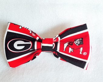 Dog Bowtie made from UGA fabric
