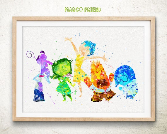 Disney inside out watercolor art print poster by marcofriend for Cheap prints and posters