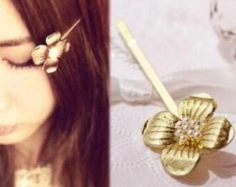 Gold Flower Hair Pin ( set of 2) - Vintage  Flower Hair Pin -Gold Hair Pin -Gold Flower Bobby Pin - Bridal Hair Pin -Bridesmaid Hair Pin