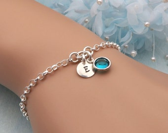 Birthstone Initial Bracelet, Sterling Silver, Hand Stamped Bracelet, Personalized Bracelet, Birthstone Bracelet, Bridesmaid Gift