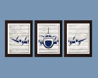 Airplane Decor, Airplane Nursery Decor, Living Room Art, Airplane Print, Boy Bedroom Decor, Navy Gray, Airplane Print, Living Room Decor
