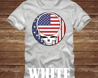 AMERICAN Flag STEAL Your Face T-Shirt -Many Colors- grateful dead us flag america patriotic hippie usa skull dead head country 482