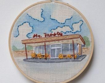 Mr. Frosty | Embroidery & Watercolor Hoop Mixed Media Fiber Art