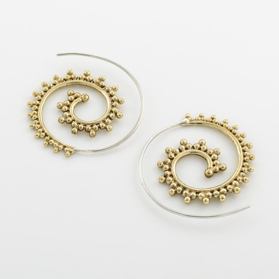 Unique hand made tribal brass and sterling silver earrings. Spiral earrings.