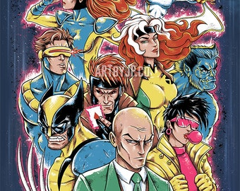 X-Men: Class of 92 Animated Series Painting Premium Quality Giclee Archival Poster Print