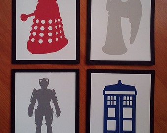 Doctor Who Greeting Cards ~ Doctor Who Blank Cards ~ Dr. Who Cards ~ Cyberman ~ Dalek ~ Weeping Angel ~ Tardis ~ Geeky Note Cards ~ Set of 4