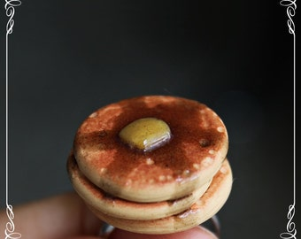 Polymer Clay Pancake Ring, Miniature Food Jewelry