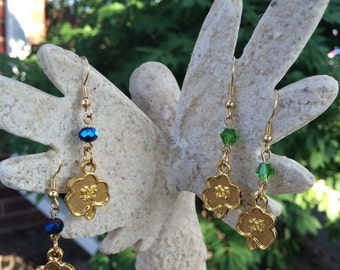 Notre Dame Shamrock Earrings, Gold and Silver Plated, Glass Beads...