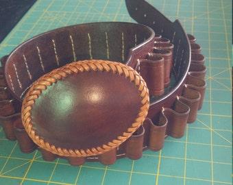 Ammo Belts, 12 gauge leather ammo belt w/custom  oval buckle