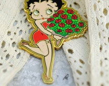 Betty Boop, 1930s Flapper Girl, Dismantled Brooch (no pin on back) for Creative Crafts, Altered Art, Mixed Media, Collage #373 ok