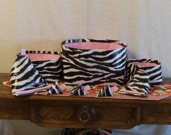 zebra, pink, strips, storage, bins, make-up, girls