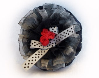 Handmade black red brooch pin - Romantic fabric brooch for her, roses brooch - 3,5 inches