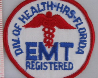 Div. of Health HRS Florida EMT Registered Sew On Patch - EMS Sew-On Patch - Paramedic Sew On Patch - Embroidered Applique Patch