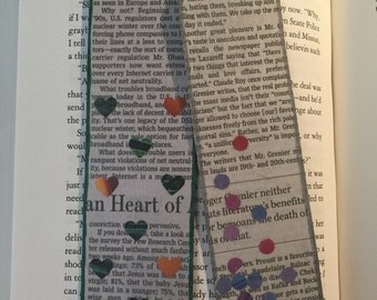 """Newspaper """"Hearts & Dots"""" Bookmarks"""