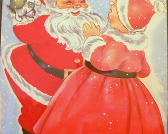 1952 Fuzzy Santa Claus with Mrs. Claus & Kitten Matted Vintage Print
