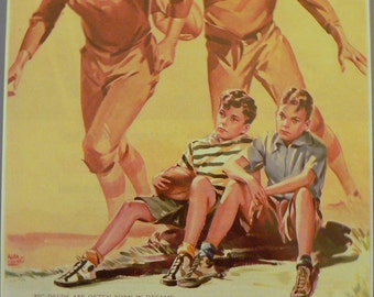 1941 Football Ked's Shoes Ad Matted Vintage Print Life Magazine