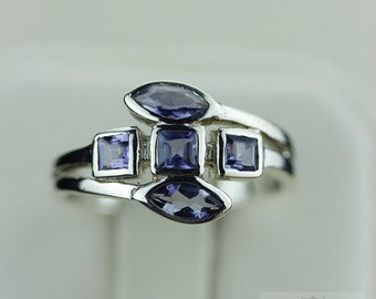 SIZE 7.5 GENUINE IOLITE (Nickel Free) 925 Fine S0LID Sterling Silver Ring & Free Worldwide Express Shipping r1237