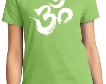Yoga Clothing For You Ladies Shirt Brushstroke AUM Tee T-Shirt = LPC61-BRUSHSTROKE