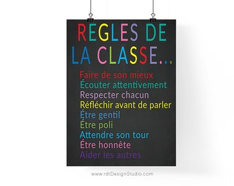 Regles de la Classe Chalkboard Poster French Print Classroom Poster Cadre Typography Wall Art Classroom Wall Decor Instant Download DT298