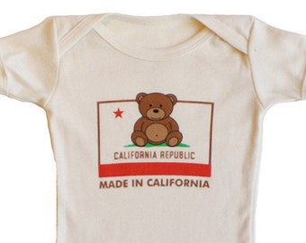California Bear - Made In California - Baby Shower - Newborn Gift - Take Home Outfit - Gender Neutral - Hometown - Organic