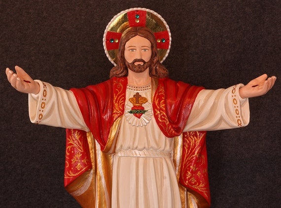 """Jesus Beckoning/Sacred Heart 18"""" Patron of those in poverty, danger, sorrow, anxiety, spiritual darkness, despair & illness."""