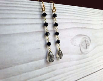 Long and thin earrings with black spinel and rutilated quartz. Dangle thin chain earrings with stones Skinny earrings with spinel and quartz