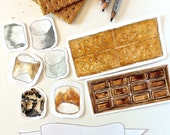 S'more Printable Card Kit | Printable S'more Watercolor Clipart