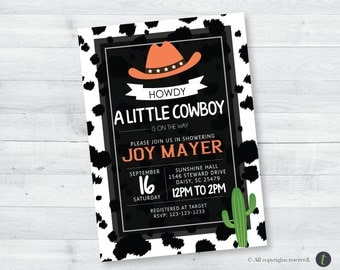 Orange Cow Print Baby Shower Invitation