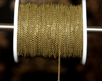 10 meters ( 33 Feet ) 1.5x1.7 mm Antique Bronze Tone Chain, Wire Thickness : 0.4 mm
