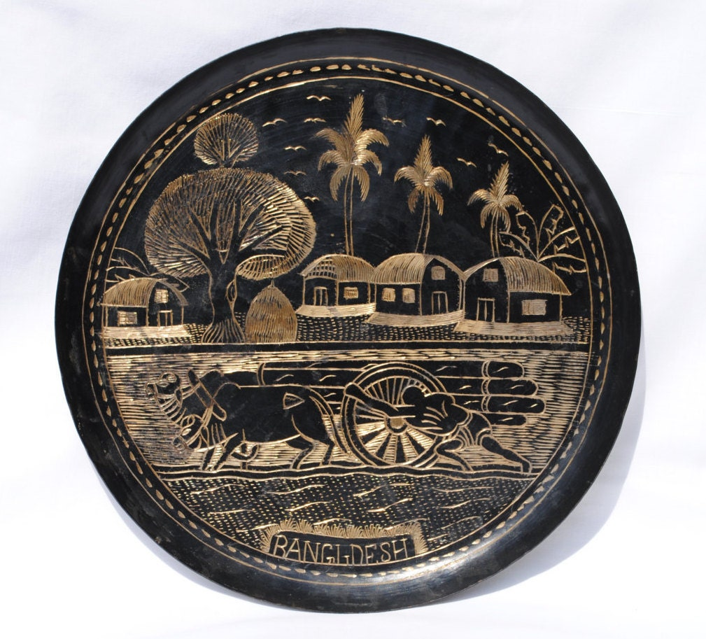 vintage engraved brass hanging plate hand carved by