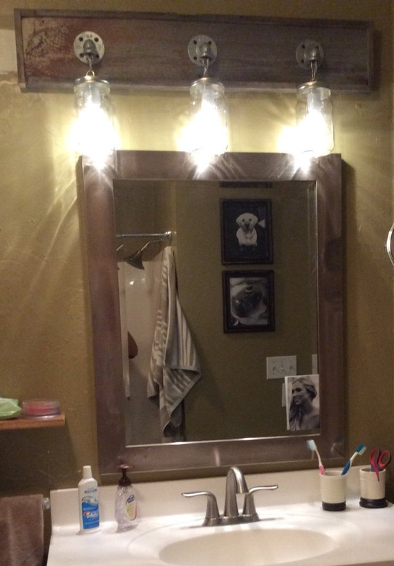 Bathroom Vanity Lights Etsy : Mason Jar 3 Bathroom Vanity lighting by WoodsEdge3 on Etsy