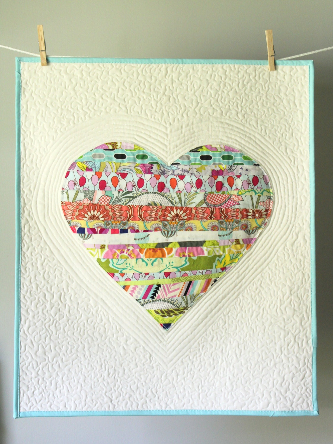 Decorative Wall Hanging Hearts : Nursery wall decor quilted hanging heart by gobewonderful