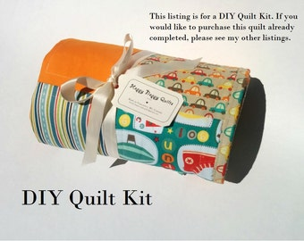 DIY Modern Baby Quilt Kit - Complete Patchwork Quilt Kit - Robots Quilt, Cars Quilt, Baby Boy Quilt Kit - Minky or Flannel Cotton Back