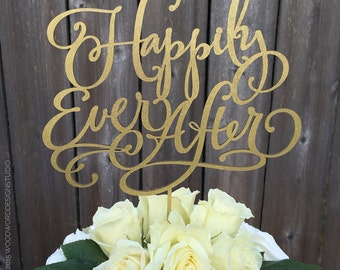 Wedding Cake Topper - Happily Ever After Cake Topper
